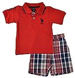 Kyпить U.S. Polo Assn. Toddler Boys 2 Piece Big Pony Solid Pique Polo Shirt and Plaid Short, Red, 3T на Amazon.com