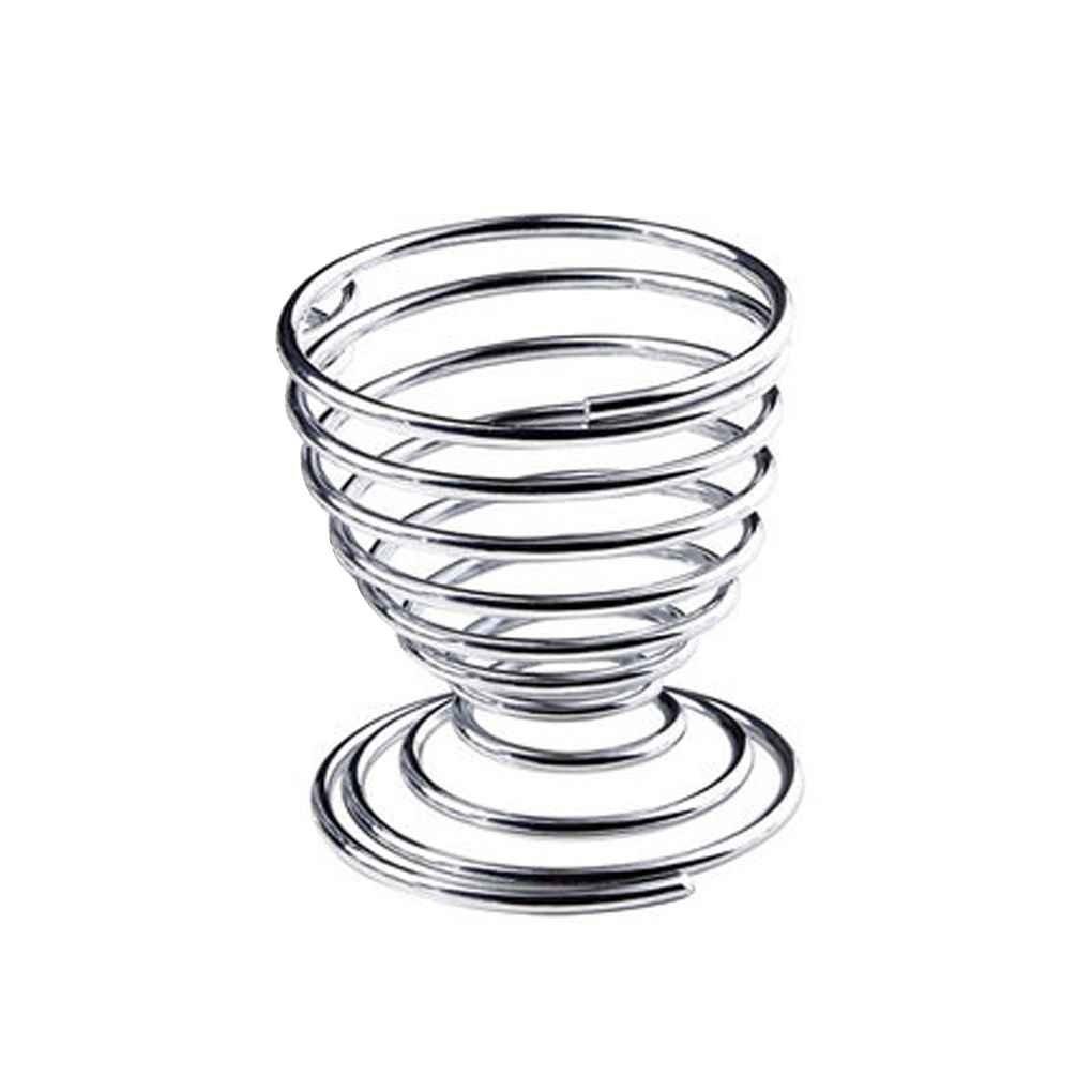 Lidahaotin Métal Coquetier Spiral Cuisine Petit déjeuner Hard Boiled Spring Holder Coquetier