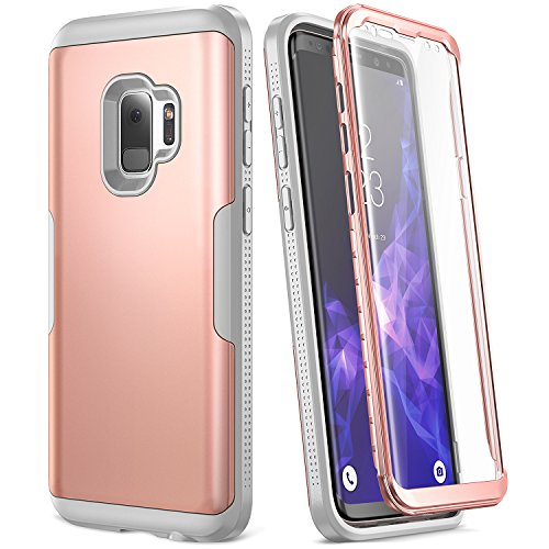 Galaxy S9 Case, YOUMAKER Rose Gold with Built-in Screen Protector Heavy Duty Protection Shockproof Slim Fit Full Body Case Cover for Samsung Galaxy S9 5.8 inch (2018) - Rose Gold/Gray