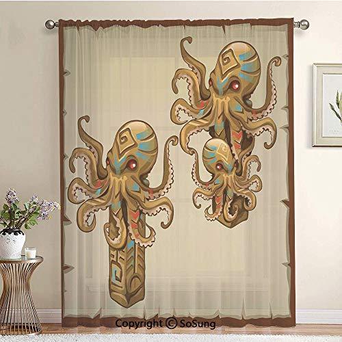 Cartoon Art Tribal Monster Kraken Octopus Sculpture Ornament Illustrations Sea Creature Print Extra Wide Sheer Window Curtain Panel for Large Window,Sliding Glass Door,Patio Door,1 panel,102 x 96 inch ()