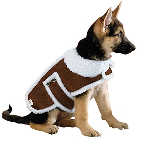 EocuSun Pet Clothes for Dogs Winter Coat Cat Dog Vest Warm Jacket Apparel Shearling Fleece Cold Weather Coats for Medium Large Dogs Cats Puppy with Furry Collar by, Brown (Suede Dog Coat Jacket Clothes)