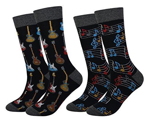 Men's 2 Packs Guitar Music Socks Gift Fun Crazy Novelty Dress Crew Socks (Guitar Music - 2 -