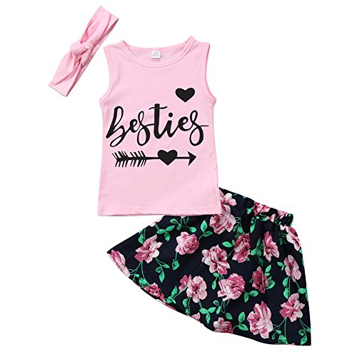 Kids Toddler Baby Girl Sleeveless Tank Tops Floral Skirt with Headband Twins Sister Outfit (Right Arrow, 3-4 (Vest Twin Set)