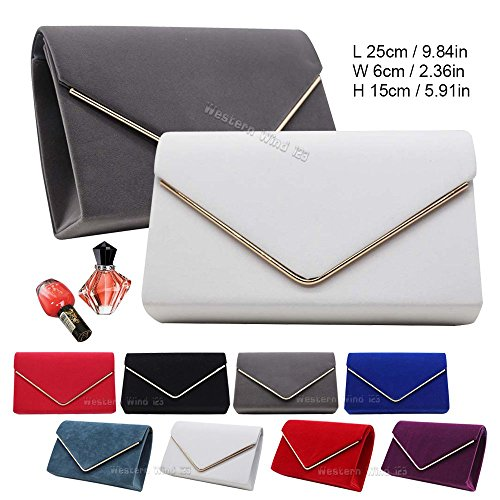 Bag Womens Prom Velvet Shoulder Handbag Wocharm Red Purse Envelope Lavish Suede Clutch Party Bag Wedding Ladies 0qTqvw