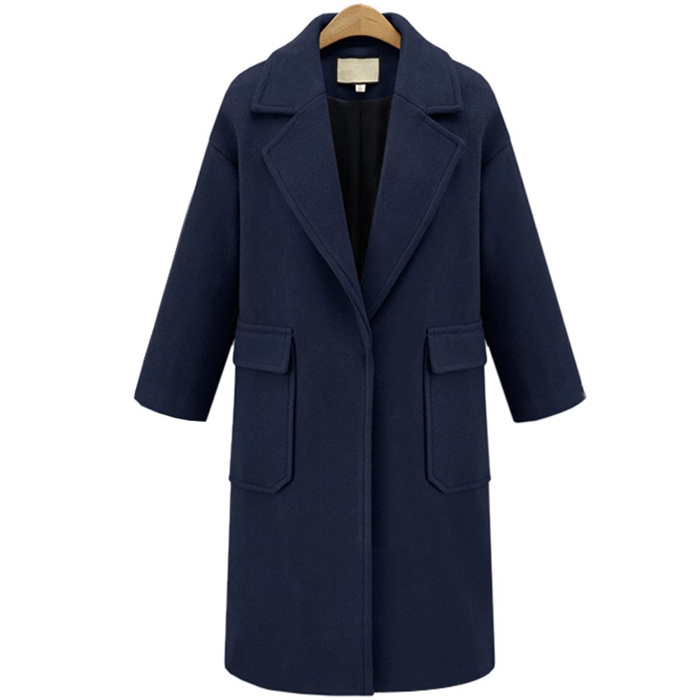 HEMAY Women's Autumn Winter Lapel Long Jacket Woolen Trench Coat
