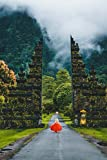 Girl in a Red Dress at the Gate - Bali Indonesia Journal: 150 page lined notebook/diary