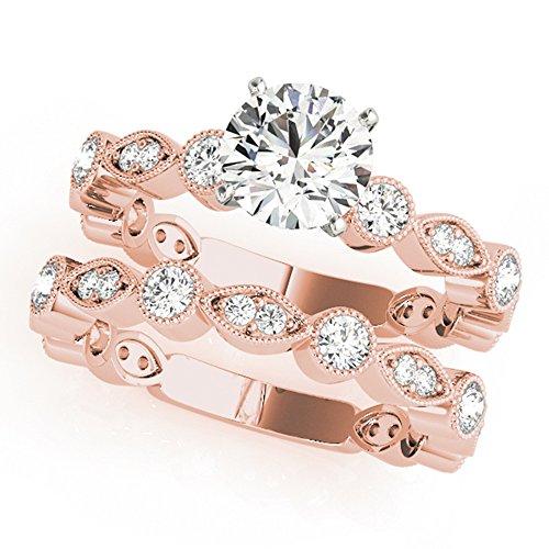 Forever Diamond 1.45Ct Round Cut 14K Rose Gold Hallmarked Moissanite Bridal...