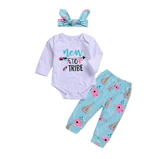 3793ff7e0cdb KaiCran New to Tribe Clothing Baby Newborn Boys Girls Long Sleeve Letter  Romper Pants Headband Outfits Clothes Sets
