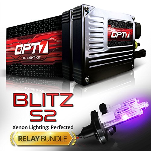 OPT7 Blitz 35w S2 9007 Hi-Lo HID Kit - Relay Bundle - All Bulb Sizes and Colors - 2 Yr Warranty [Royal Purple Xenon Light]