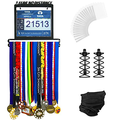 Urban Active Sports Medal Display - Complete Bundle Medal Holder Bib Hanger For 60+ Medals 120 Runner Race Bibs + Includes 23 Bibs Vinyl Sleeves + Locking Laces + Multipurpose Scarf