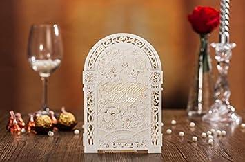 10 X 3D Laser Cut Paravent Stil Romantische Hochzeit Einladung Karten In  Farbe Ivory Elfenbein,