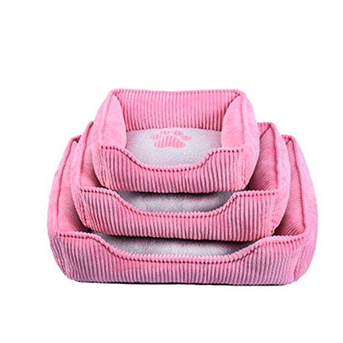 BigBig Home Corduroy Anti Microbia Washable Dog bed, Applicable for Whole Year.Button Waterproof and Pink/Black/Deep Coffee/Light Coffee/Gray 5 Colors 3 Sizes Available.