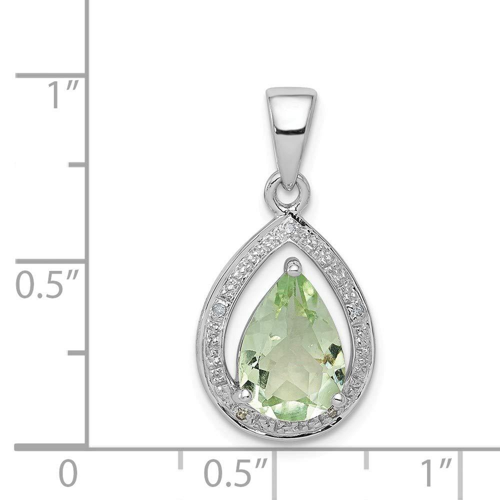 .02 cttw. 925 Sterling Silver Simulated Green Quartz /& Diamond Pendant 23mm x 12mm