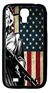 Caitin Marilyn Monroe American Flag Case Cover Protective Shell for Samsung Galaxy S4 I9500 Black