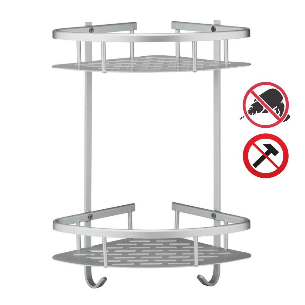 "2-Tier Bathroom Shower Shelf Anti-Rust Aluminum Corner Shower Shelf Adhesive No Drilling Organizer Storage 12"" x 9"" x 14"" Basket Caddy Holder for Bathroom Bedroom Kitchen - Hardware and Glue Included"