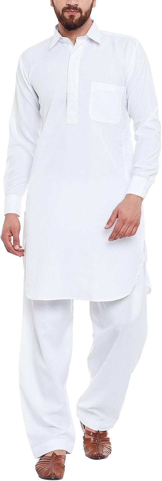 Mens Traditional Cotton Blend Pathani Kurta Salwar Ethnic Kurta Salwar