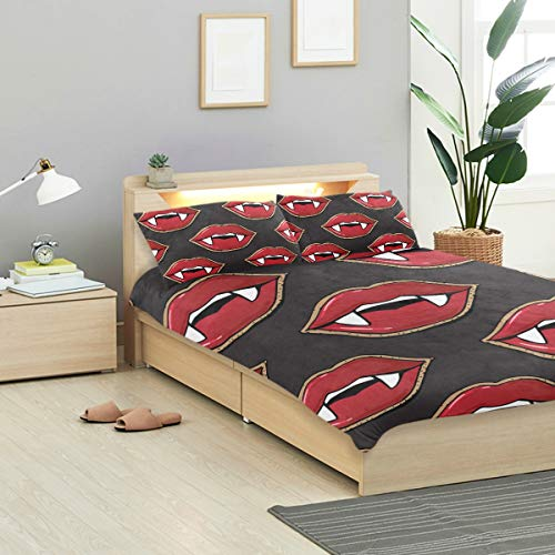KVMV Vampire Lips Scary Halloween Background Duvet Cover Set Design Bedding Decoration Queen/Full 3 PC Sets 1 Duvets Covers with 2 Pillowcase Microfiber Bedding Set Bedroom Decor Accessories -