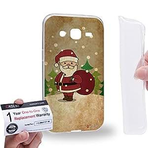 Case88 [Samsung Galaxy J2] Gel TPU Carcasa/Funda & Tarjeta de garantía - Art Christmas Classics Vintage Christmas Santa Art1371
