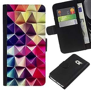 Samsung Galaxy S6 EDGE / SM-G925(NOT FOR S6!!!) Modelo colorido cuero carpeta tirón caso cubierta piel Holster Funda protección - 3D Art Purple Pink Checkered Pattern