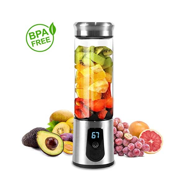 Portable Blender, Smoothie Blender, Electric Shaker Bottle, 3 in 1 Cordless Personal Blender Juicer Mixer with Led Displayer, Usb Rechargeable, Stainless Steel, Borosilicate Glass