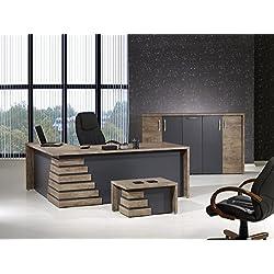 "Mare Collection Modern Atlas 3 Piece L Shaped Desk Home Office Suite Furniture Set 79"" Light Brown & Grey"