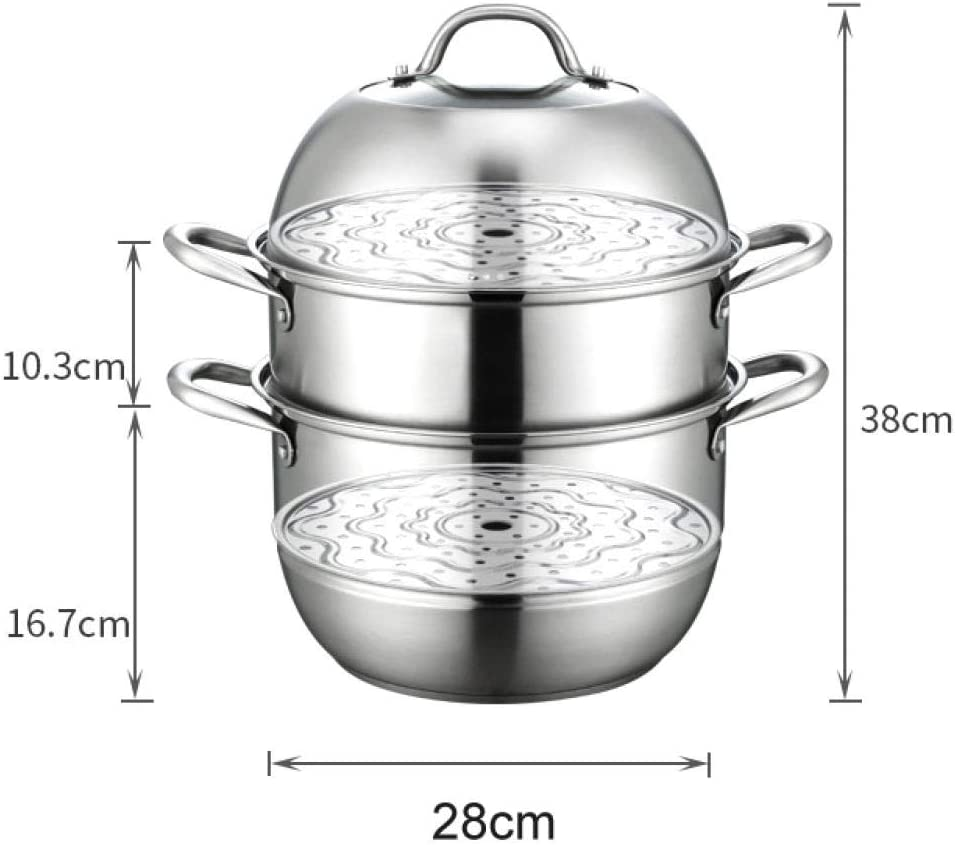 for All hobs Polished Mirror Finish Oven Safe Iceclubs Steamers for Cooking 304 Stainless Steel 3 Layers -28Cm,Large Multi Layer Stock Pot and Steamer with Toughened Glass Lid