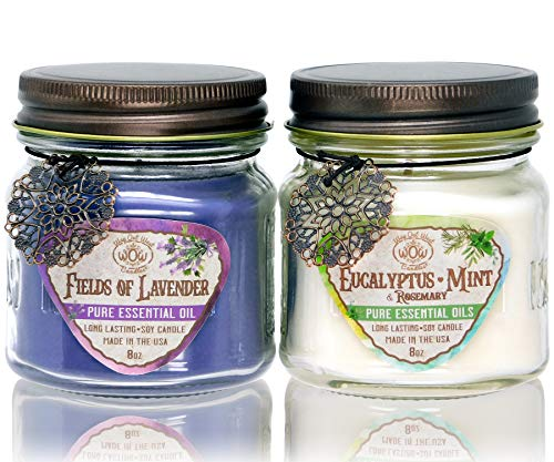 Way Out West 80 Hour Aromatherapy Scented Candles - Stress Relief & Energy - USA Made, Long Burning, Natural Candle Set - 100% Essential Oils Lavender & Eucalyptus Spearmint Soy Wax Blend Jar Candles