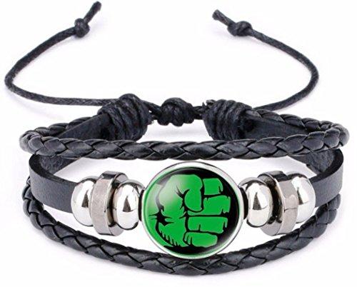 New Horizons Production Marvel's Super Heroes Glass Domed Braided Leather Bracelet (Hulk)