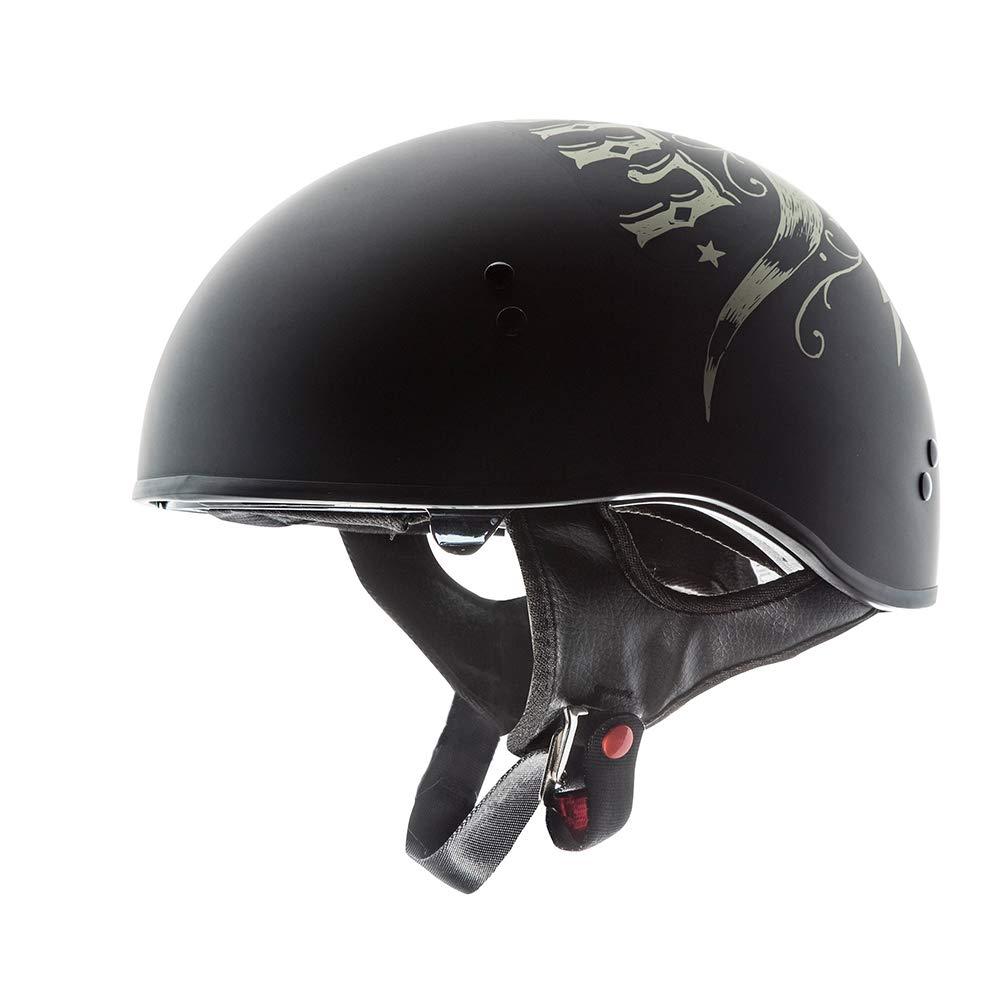 TORC Unisex-Adult T55 Spec-Op Motorcycle Half Helmet with Graphic and Drop-Down Sun Visor (Bullhead)) (Flat Black Large