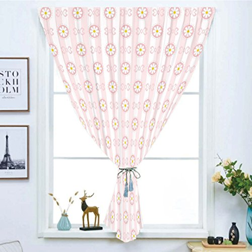 Marilyn Pink Ribbon - Blackout Window Curtain,Free Punching Magic Stickers Curtain,Light Pink,Cute Striped Backdrop with Chamomiles in Circles Ribbons Soft Retro Decorative,Light Pink White Yellow,Paste style,for Living Ro