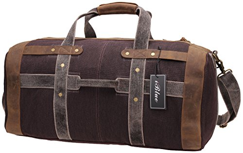 Iblue Weekend Bag Travel Duffel Bags For Men Canvas Carry On #B007(XL, coffee)