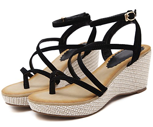 Strappy By BIGTREE For Bohemian Platform Sandals High Sandals Wedge Heel Black Women FnvwzfX