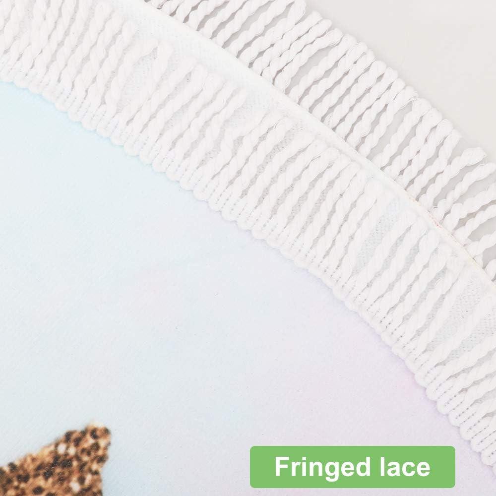 Unicornio Toalla de Playa Toalla de Microfibra Redonda m/ás Grande Suave Digital Linda Impreso Color Brillante Toalla de Playa Deportes Ba/ño Bufanda Mantel Picnic Esterilla Con Borla