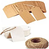 200PCS Blank Kraft Gift Tags with Twine String for Christmas Packing and Art Craft (1.83.7inch/4.59.5cm)