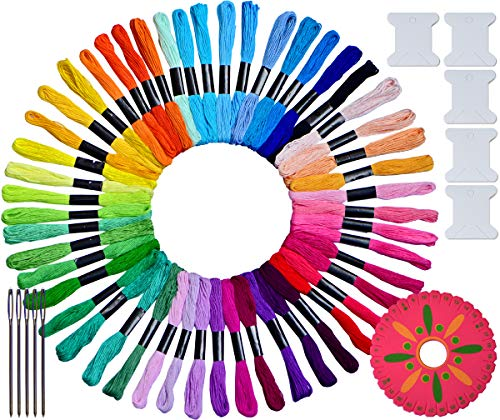 LE PAON 50 skeins Embroidery Floss &Thread Cross Stitch Threads Friendship Bracelet String Craft Floss Made from 100% Long-Staple Cotton ,with Free Set of 11 Pcs Embroidery Tool Kits