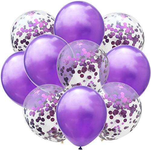 50 Pcs New Year Confetti Balloons Purple and Purple 12