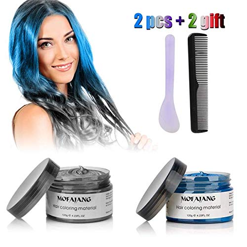 MOFAJANG Temporary Hair Color Wax 4.23 oz, Silver Gray & Blue Color Hair Dye Wax Set,Natural Matte Hairstyle Wax for Party, Cosplay, Halloween, Date (Theme Parties Set)