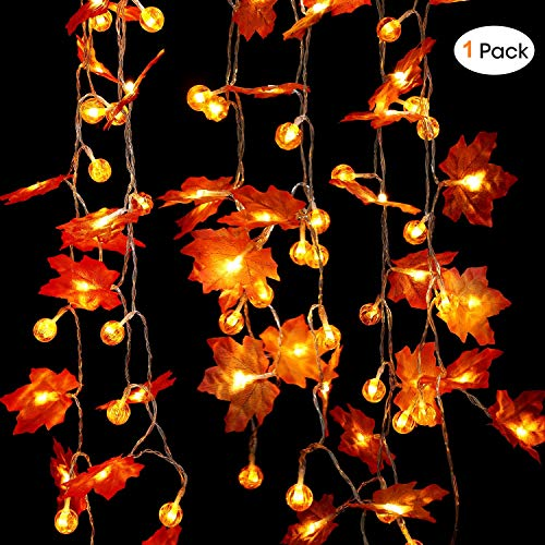 30LED Maple Leaf & Pumpkin Fall Garland String Lights Thanksgiving Decoration Indoor Outdoor 10 ft Fall Decoration String Lights Garlands for Halloween Holiday Party 3 AA Battery Powered (Warm orange)