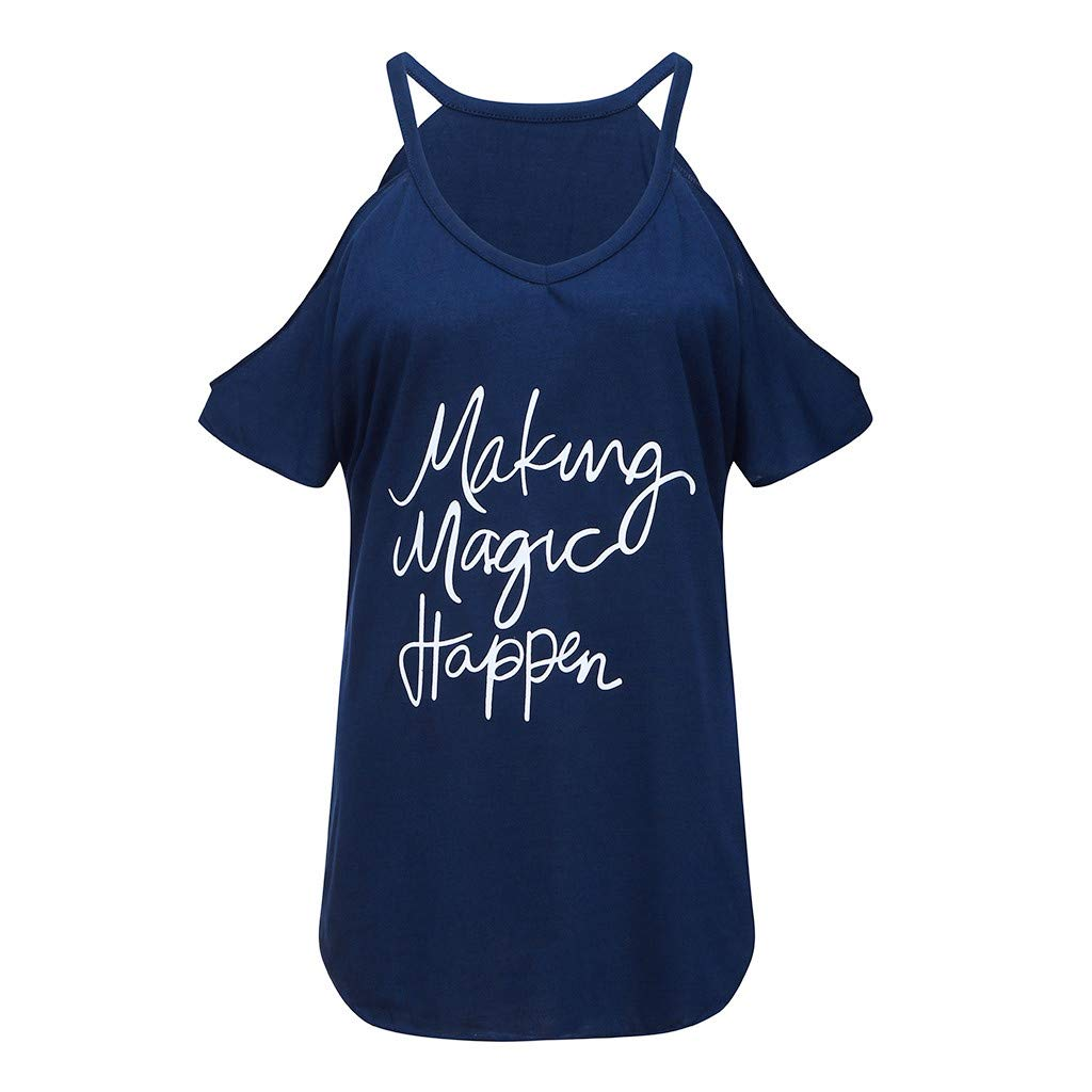 Severkill Women Making Magic Happen Print T Shirt Letters Graphic Casual Short Sleeve Cold Shoulder Tops Tees Blouses