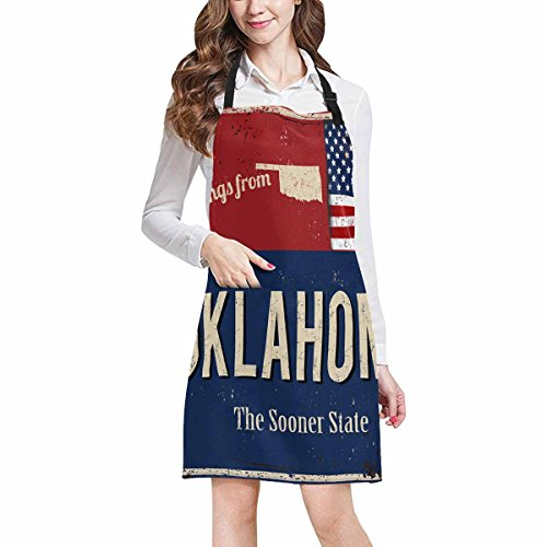 Oklahoma State Apron - InterestPrint Oklahoma the Sooner State Rusty Metal Sign with American Flag Kitchen Apron - Mens and Womens Bib Apron - Adjustable with Pockets for Cooking Baking Gardening, Large Size