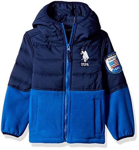 US Polo Association Boys' Little Quilted Overlay Polar Fleece, Blue Tile/Navy 7