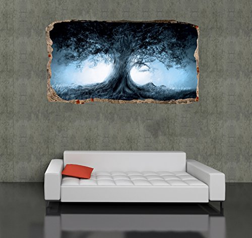 Startonight 3D Mural Wall Art Photo Decor the Tree Amazing Dual View Surprise Large Wall Mural Wallpaper for Living Room or Bedroom Abstract Collection Wall Art 120 x 220 cm