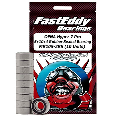 OFNA Hyper 7 Pro 5x10x4 Sealed Ball Bearings for RC Cars MR105-2RS (10 Units) -  FastEddy Bearings, 5x10x4-10-96