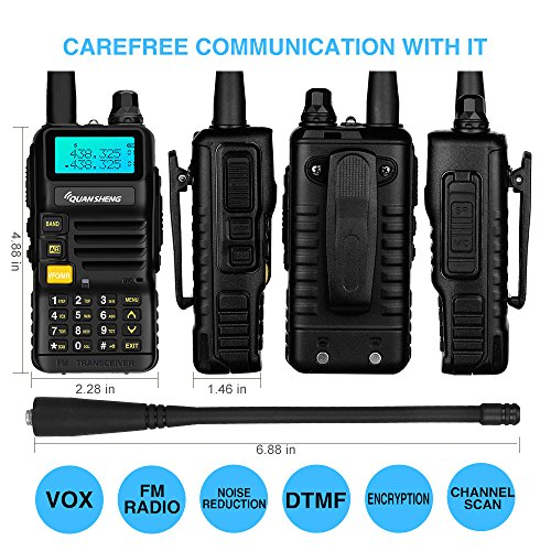 Quansheng UV-R50 Rechargeable Dual Band Two-Way Radios with Earpiece Long Range Walkie Talkies (136-174MHz VHF & 400-520MHz UHF) Ham Amateur Radio Li-ion Battery and Charger Included by QUANSHENG (Image #1)