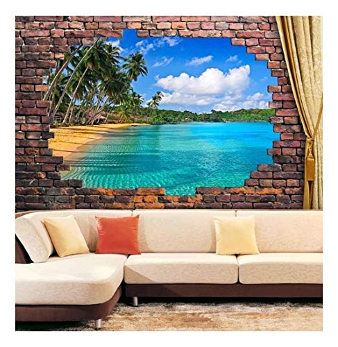 Large Wall Mural 3D Visual Effect Vinyl Wallpaper Removable Decorating (Tropical Beach)