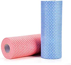 Paño de limpieza desechable (2 rollos/100 piezas), multiusos, tela no tejida, no tejida, no tejida, para cocina, desechable, limpieza antiadherente, paño de limpieza para casa, paño de limpieza: Amazon.es: Hogar