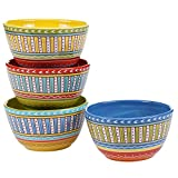 Certified International Valencia Ice Cream Bowls (Set of 4), 6'', Multicolor