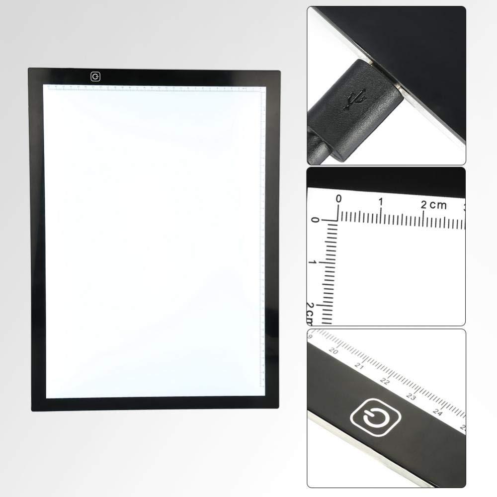 SOULONG A3 Tablette Lumineuse LED Portable avec 3 Niveaux Luminosit/é R/églable Table Lumineuse Dessin Ultra-Mince Contr/ôle Tactile avec USB pour Dessin Architecture Calligraphie