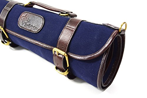 Boldric 9 Pocket Knife Bag, Roll Up Canvas with Handle and Shoulder Strap, Top Quality Portable Chef Knives Case Storage Bag, Navy, 18-inch by Boldric