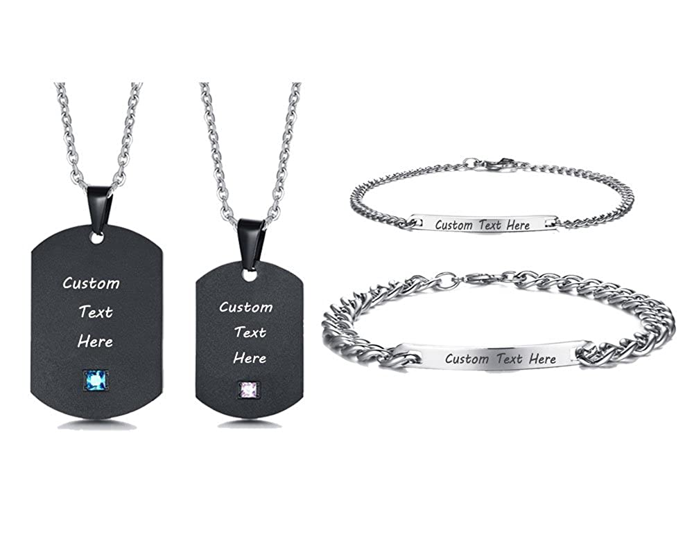 XUANPAI 4 Piece Free Engarving Stainless Steel Matching Couple Dog Tag Neckacle&Couple ID Bracelet for Lover CN-094-1-CB-027+KZ